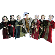 Hand Sculpted King Henry the VIII and His Six Wives Dolls