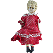 "Cute 12"" Wax Over Papier Mache Doll"