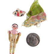 Tiny Miniature Peg Wooden Doll