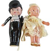 Vintage Celluloid Bride and Groom Kewpie Dolls