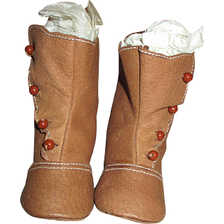 Beautiful Brown Suede Doll Boots with Side Buttons and Scalloped Edges