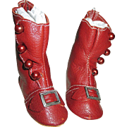 Red Leather Doll Boots with Side Buttons and Buckles