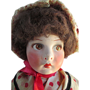 Beautiful French Paper Mache Head Doll - Nice Face Paint