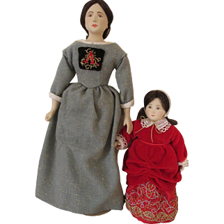 The Scarlet Letter Dolls by Shirley White - Hester Prynne and daughter Pearl