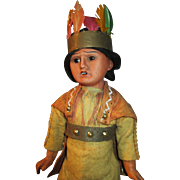 """Awesome 12"""" Scowling Indian with Antique Bisque Head"""