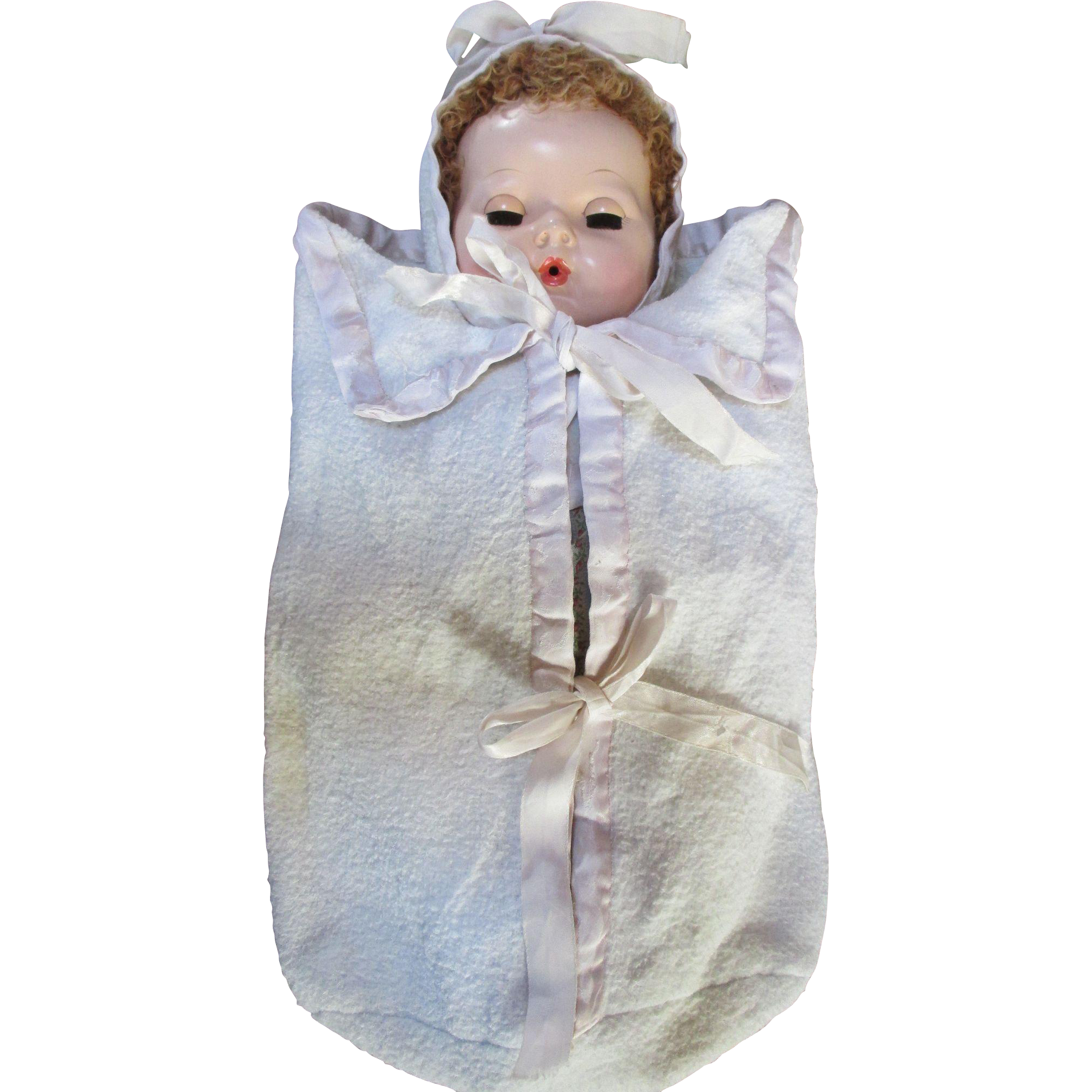 Vintage Eiderdown Bunting with Bonnet for Your Dy Dee Baby Doll