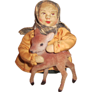 Vintage Russian Cloth Doll with Tiny Deer
