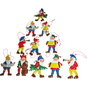 Group of Vintage Seven Dwarf Miniature Ornaments