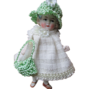 """Tiny 4"""" All Bisque Limbach Doll House Doll"""