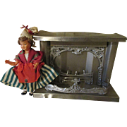Miniature Doll House Fire Place with French Celluloid Doll