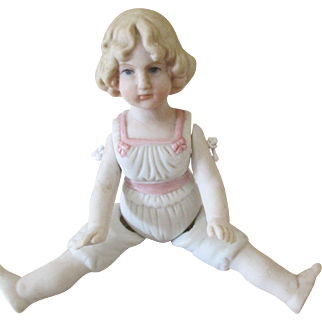 Vintage All Bisque Doll with Molded Hair and Underclothing