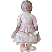 Antique Cloth Doll with Oil Painted Body and Face