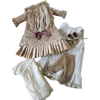 Antique Silk Doll Outfit with Underwear, Stockings, and Shoes
