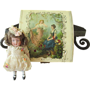 Antique All Bisque Doll in Celluloid Box