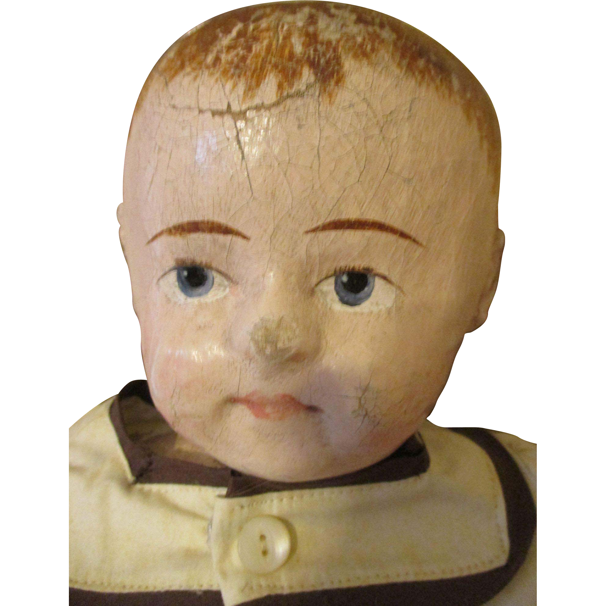 Antique Rollinson Cloth Doll Adorable Face From