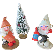 Vintage Pine Cone Santa Claus and Doll House Christmas Tree