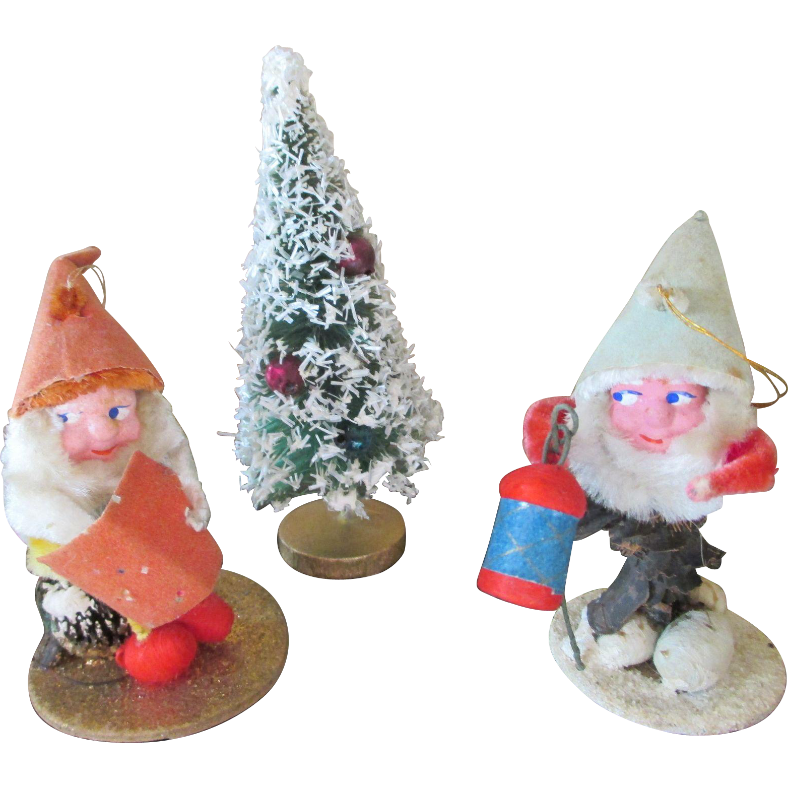 Vintage Pine Cone Santa Claus And Doll House Christmas