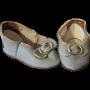 Vintage Blue Leather Doll Shoes