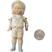 "4"" All Bisque Doll with Molded Clothes and Hair"