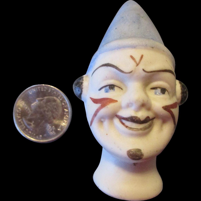 Antique Stone Bisque Clown Doll Head