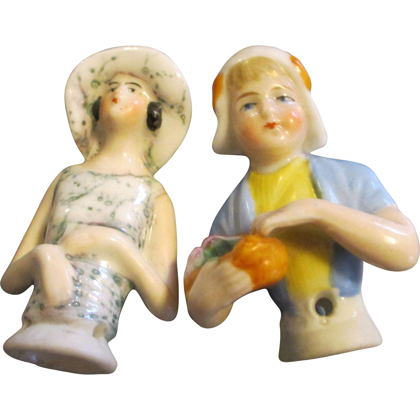 Two Antique Bisque Half Dolls