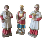 Set of 3 Antique Hand Carved German Dolls