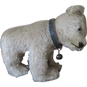 Little Mohair Bear in Walking Position with Original Collar and Bell