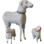Antique Putz Sheep with 2 Lambs