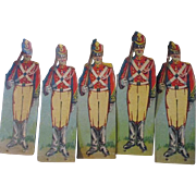 Set of 5 Litho Paper Soldiers on Cardboard