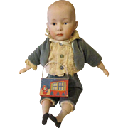 Cute Artist Bisque Head Doll with His Little Candy Box