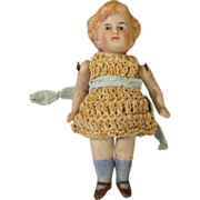 "Antique 3.5"" All Bisque Doll with Molded Blond Hair"