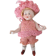 "Adorable 4.5"" All Bisque Doll in Crochet Outfit"