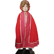 Child's Victorian Red Wool Cape for Your Large Antique Doll