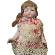 "Adorable Antique 4"" All Bisque Baby Doll"