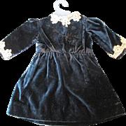 Lovely Antique Blue Velvet Doll Dress