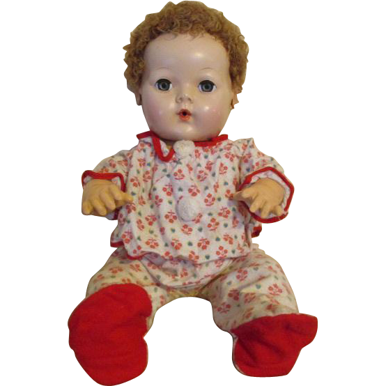 "Vintage Flannel Footed Pajamas for your Dye-Dee Baby or other 15"" Vintage Doll"