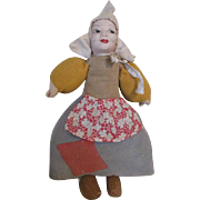 Vintage Dutch Cloth Doll with Wooden Shoes