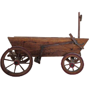 Antique Wooden Wagon Used For Creche Scene