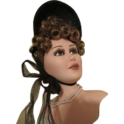 Black Molded Bonnet For Your French Fashion Doll