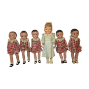 Dionne Quints with Their Nurse Dolls - Matching outfits