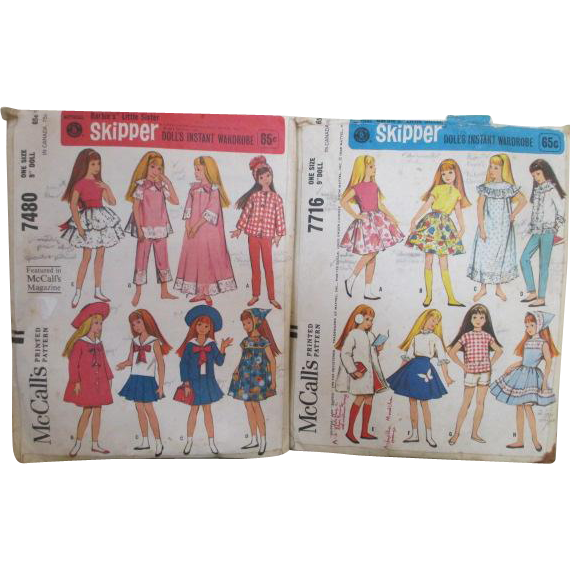 Two 1964 Skipper Doll Clothes Patterns by McCall