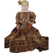 Antique Tin Minerva Doll in Early Silk Dress