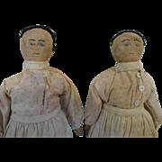 Cloth Folk Art Twin Dolls