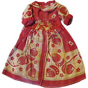 Antique Early Red and White Doll Dress