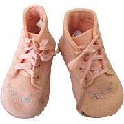 Vintage Pink Wool Baby Shoes for Your Vintage Doll