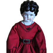 Antique China Doll Head in Lovely Dress