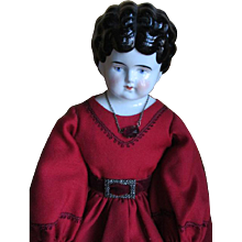 Antique China Doll Head in Lovely Dress - Red Tag Sale Item