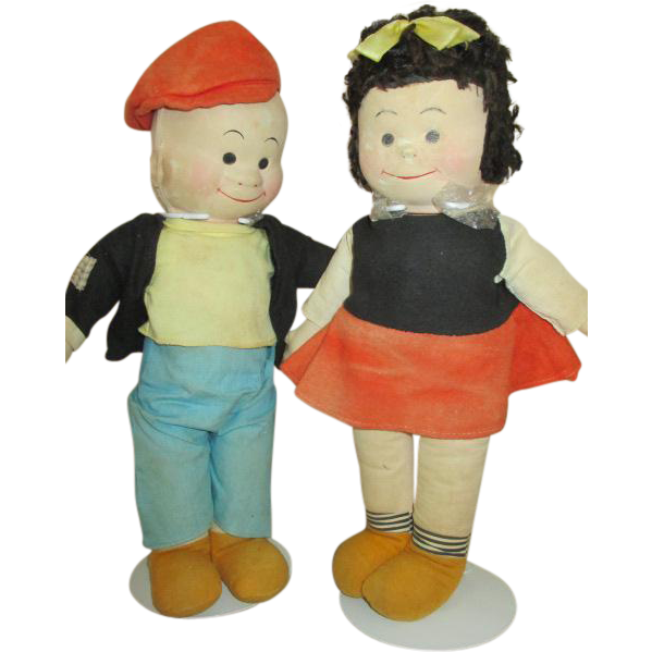 Vintage Nancy and Sluggo Comic Strip Character Dolls