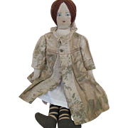 Vintage Cloth Artist Doll with Pretty Coat