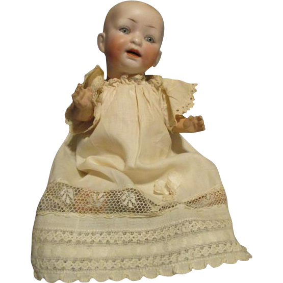 Antique Bisque Solid Dome Head Baby Doll on Googly Body